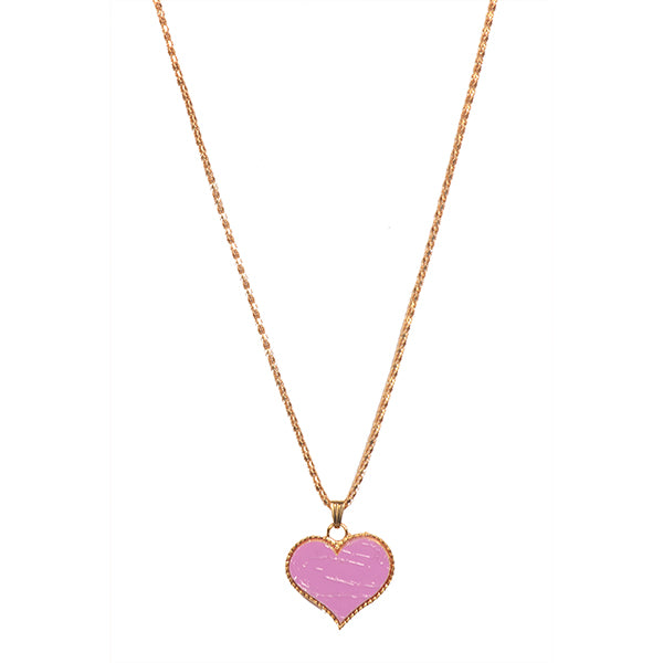 Urthn Pink Heart Shape Gold Plated Chain Pendant