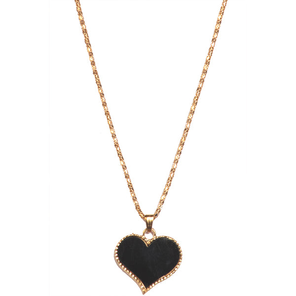 Urthn Black Heart Shape Gold Plated Chain Pendant