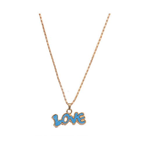 Urthn Black Love Gold Plated Chain Pendant