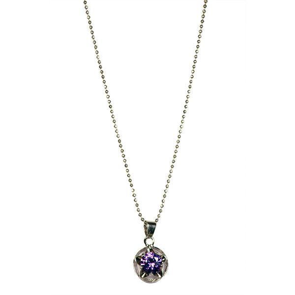 The99jewel Silver Plated Purple Austrian Stone Chain Pendant  - 1200906 - AS