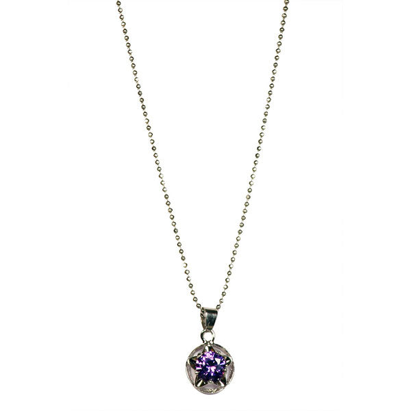 The99jewel Silver Plated Purple Austrian Stone Chain Pendant