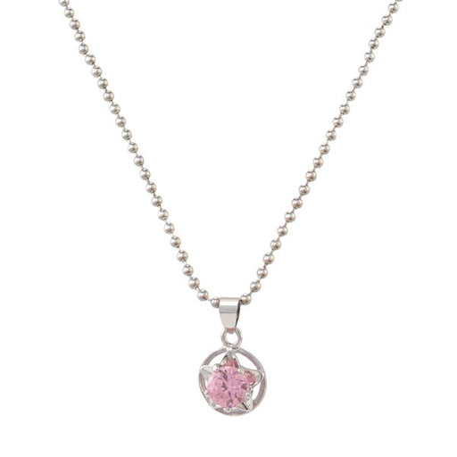 Kriaa Pink Austrian Stone Silver Plated Chain Pendant