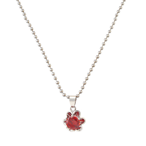 Kriaa Red Stone Flower Shape Silver Plated Chain  Pendant