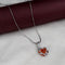 Kriaa Orange Austrian Stone Heart Shaped Chain Pendant - 1200961A