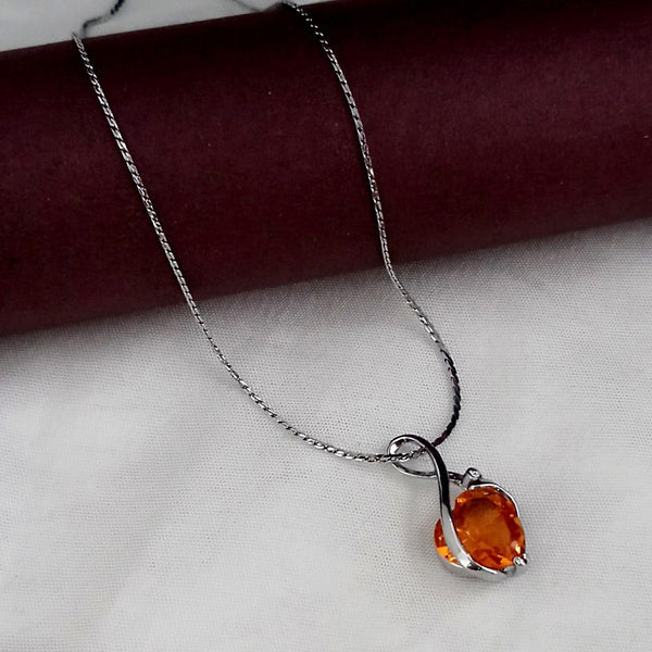 Kriaa Orange Austrian Stone Floral Shaped Chain Pendant - 1200961E