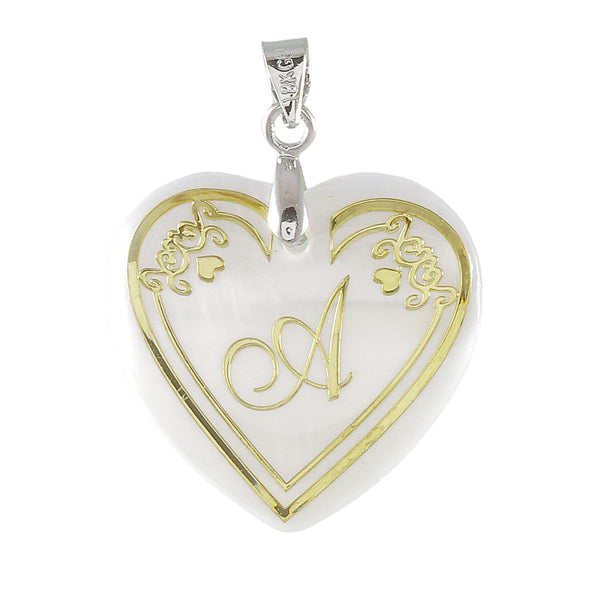 "Regina Alphabet A"" Heart Shaped Shell Pendant"