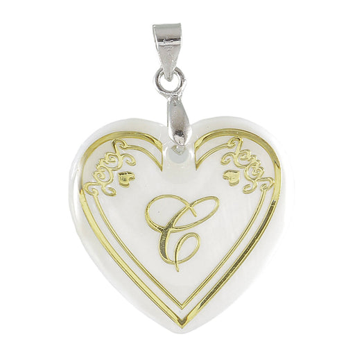 "Regina Alphabet C"" Heart Shaped Shell Pendant"
