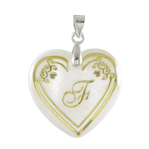 "Regina Alphabet F"" Heart Shaped Shell Pendant"