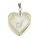 "Regina Alphabet J"" Heart Shaped Shell Pendant"