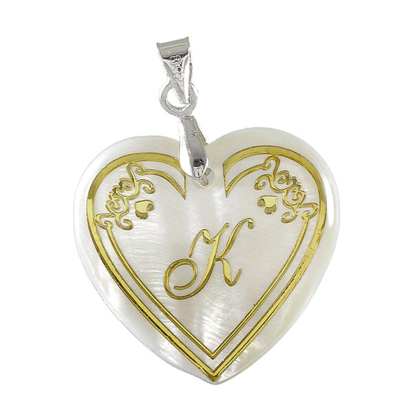 "Regina Alphabet K"" Heart Shaped Shell Pendant"