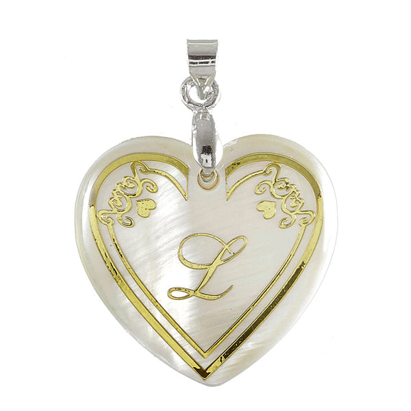 "Regina Alphabet L"" Heart Shaped Shell Pendant"