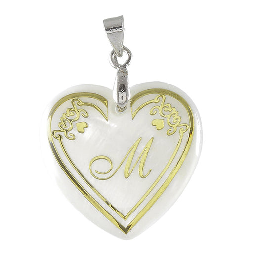 "Regina Alphabet M"" Heart Shaped Shell Pendant"