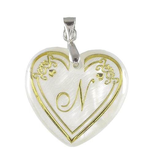 "Regina Alphabet N"" Heart Shaped Shell Pendant"