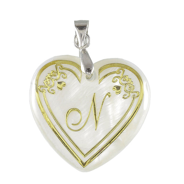 Regina Alphabet N Heart Shaped Shell Pendant