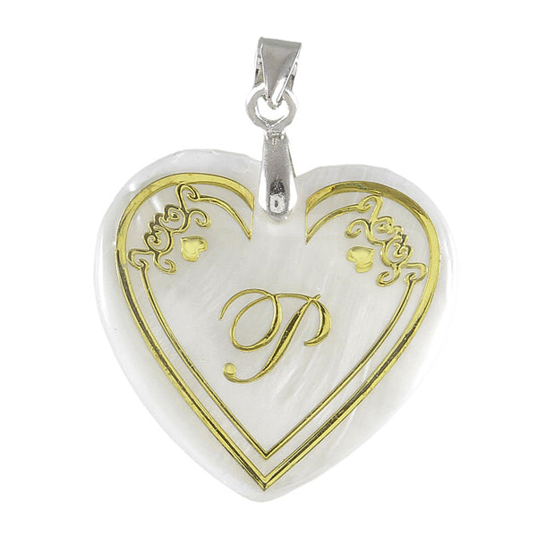 "Regina Alphabet P"" Heart Shaped Shell Pendant"