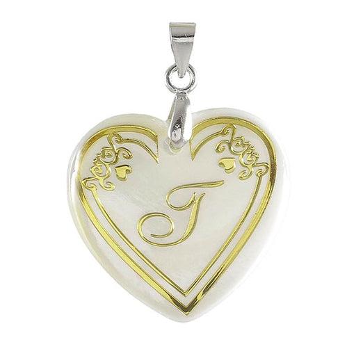 "Regina Alphabet ""j"" Heart Shaped Shell Pendant"