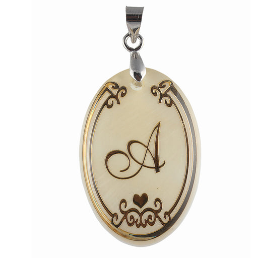 "Regina Alphabet A"" Round Shaped Shell Pendant"