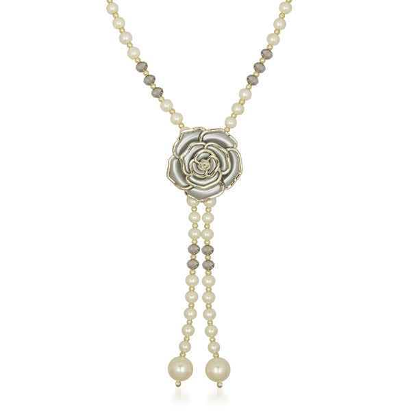 Urthn Grey Floral Pearl Gold Plated Pendant