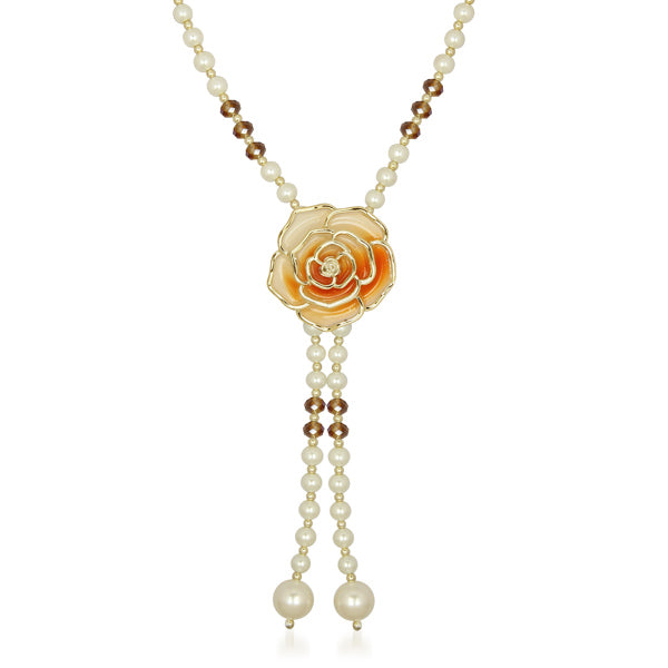 Urthn Brown Floral Pearl Gold Plated Pendant
