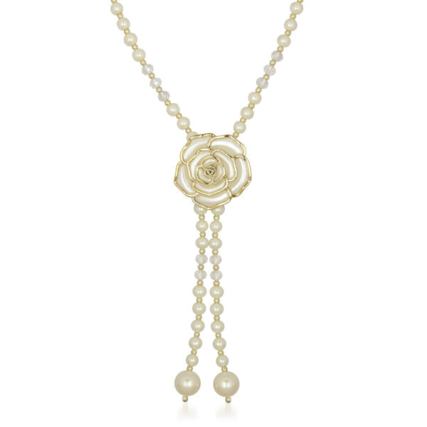 Urthn White Floral Pearl Gold Plated Pendant