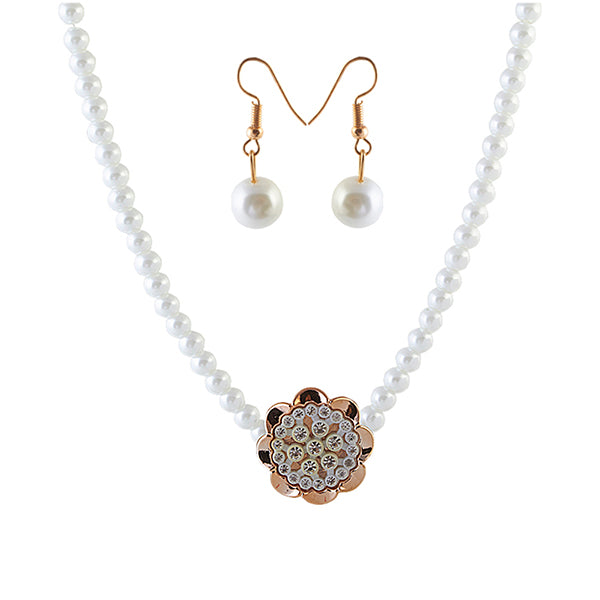Urthn Flower Shape Pearl Fusion Necklace Set