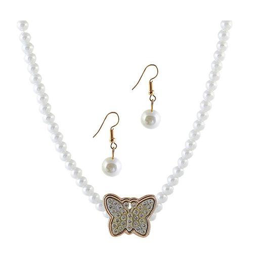The99Jewel White Pearl Butterfly Design Necklace Set