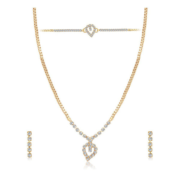 Eugenia Austrian Stone Gold Plated Necklace Set With Bracelet