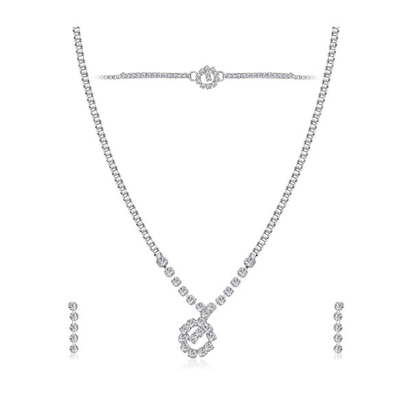 Eugenia Austrian Stone Silver Plated Necklace Set With Bracelet