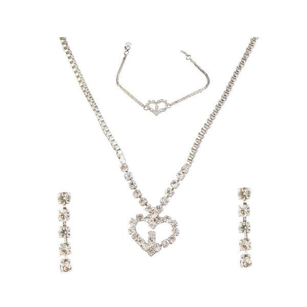 Kriaa Silver Plated Necklace Set With Bracelet