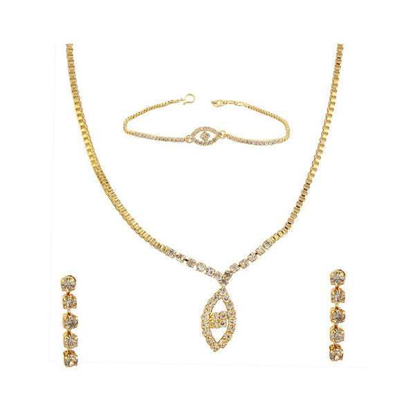 Kriaa Gold Plated Necklace Set With Bracelet