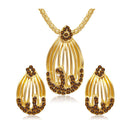 The99Jewel Brown Austrian Stone Gold Plated Pendant Set