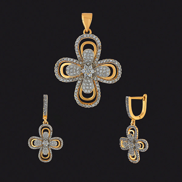Kriaa AD Stone Gold Plated Pendant Set