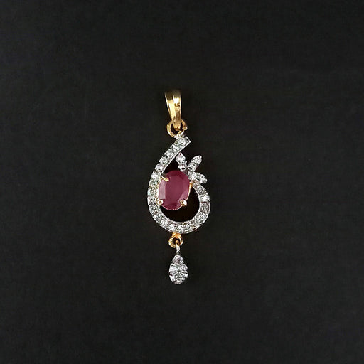 Kriaa Pink Ruby Stone Gold Plated Pendant
