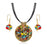 Beadside Multicolor Round Shaped Gold Plated Pendant Set