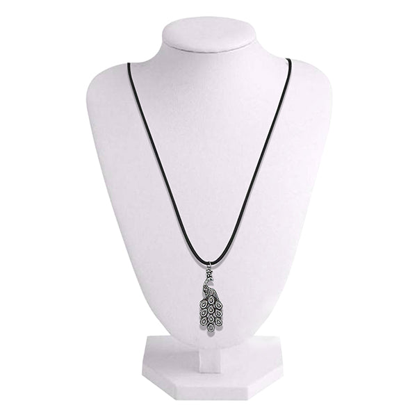 Urthn Rhodium Plated Peacock Design Chain Pendant