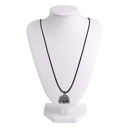 Urthn Rhodium Plated Elephant Design Chain Pendant