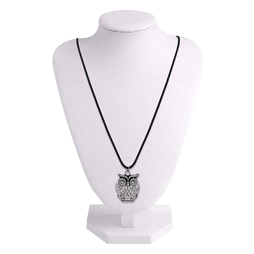 Urthn Rhodium Plated Owl Design Chain Pendant
