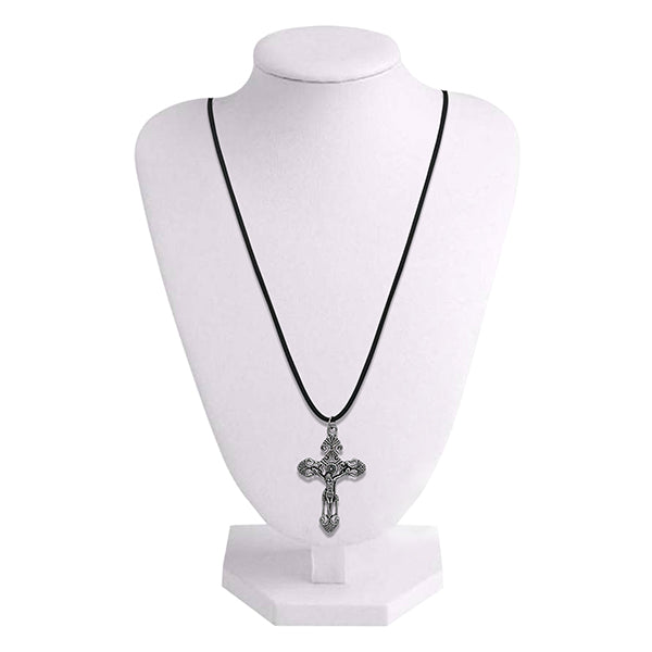 Urthn Rhodium Plated Cross Design Chain Pendant
