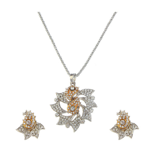 Soha Fashion Austrian Stone Silver And Gold Plated Pendant Set