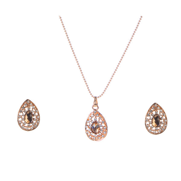 Urthn Brown Austrian Stone Gold Plated Pendant Set