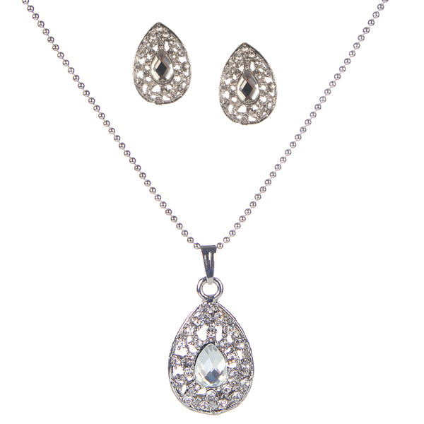 Urthn Austrian Stone Silver Plated Pendant Set