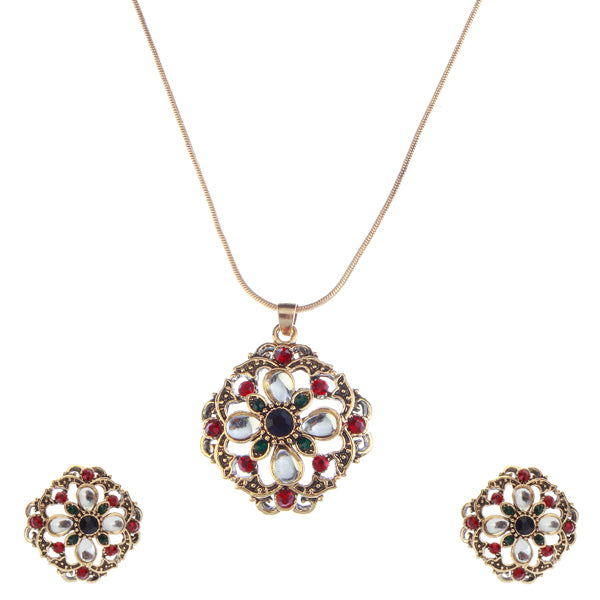 Urthn  Green And Red Austrian Stone Gold Plated Pendant Set