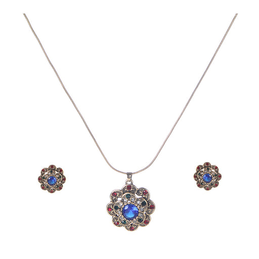 Urthn Multicolor Austrian Stone Gold Plated Pendant Set