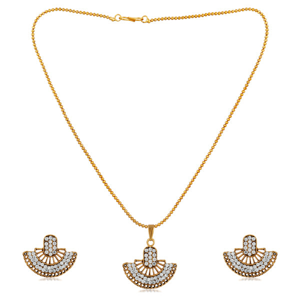 Kriaa White Austrian Gold Plated Pendant Set