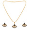 Kriaa Gold Plated Black Austrian Stone Pendant Set
