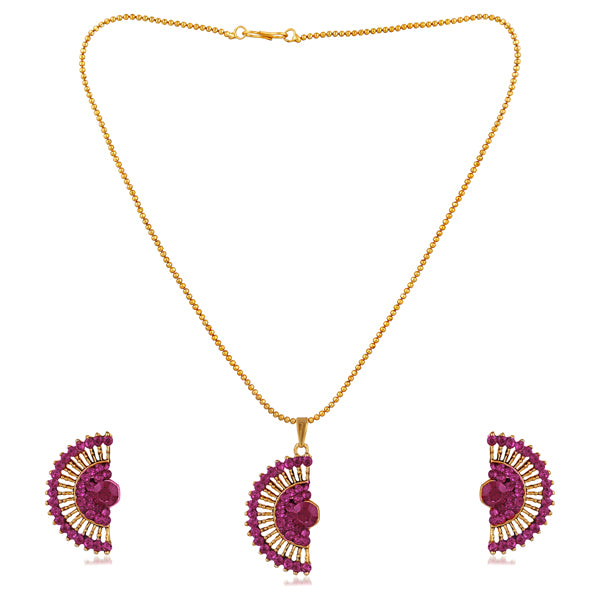 Kriaa Purple Austrian Stone Gold Plated Pendent Set