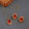 Kriaa Orange Austrian Stone Gold Plated Pendant Set - 1202334