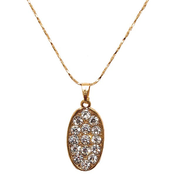 Kriaa Austrian Stone Oval Gold Plated  Chain Pendant