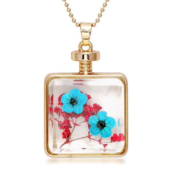 Urthn Blue Floral Gold Plated Chain Pendant