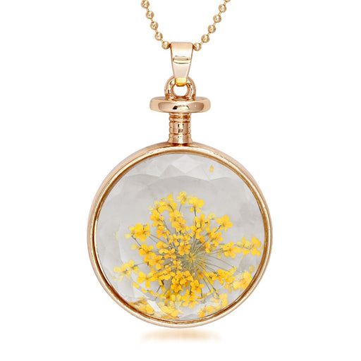 Urthn Yellow Floral Gold Plated Chain Pendant